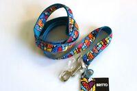 Romero Britto Dog Leash 60 In - Blue-