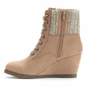 SO Ankle Boots Women's Shoes Sweater-Knit Wedge Sand Tan Boot ...