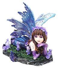 Lavender Fae Fairy Resting on Grassland Small Figurine Statue Fantasy Decoration