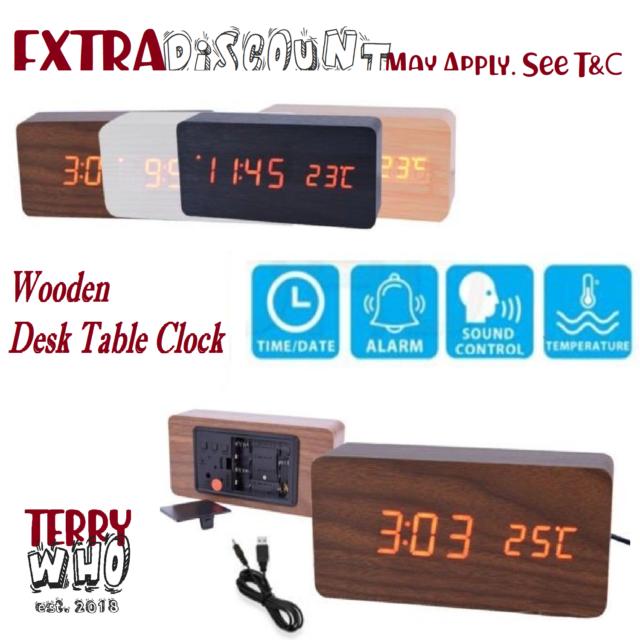 Wooden Desk Table Clock Digital LED Display Temperature Alarm Calendar USB / AAA