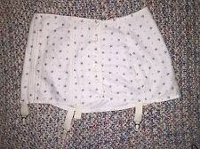 Vintage Suspender Garter Belt Floral Cotton Wide With Buttons White Sz S/M