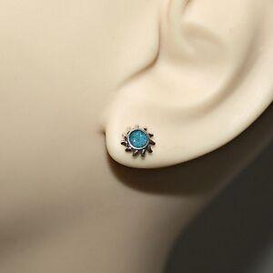 f5f93c4dd 925 Sterling Silver Ear Studs Turquoise Sun Rays Earrings Southwest ...