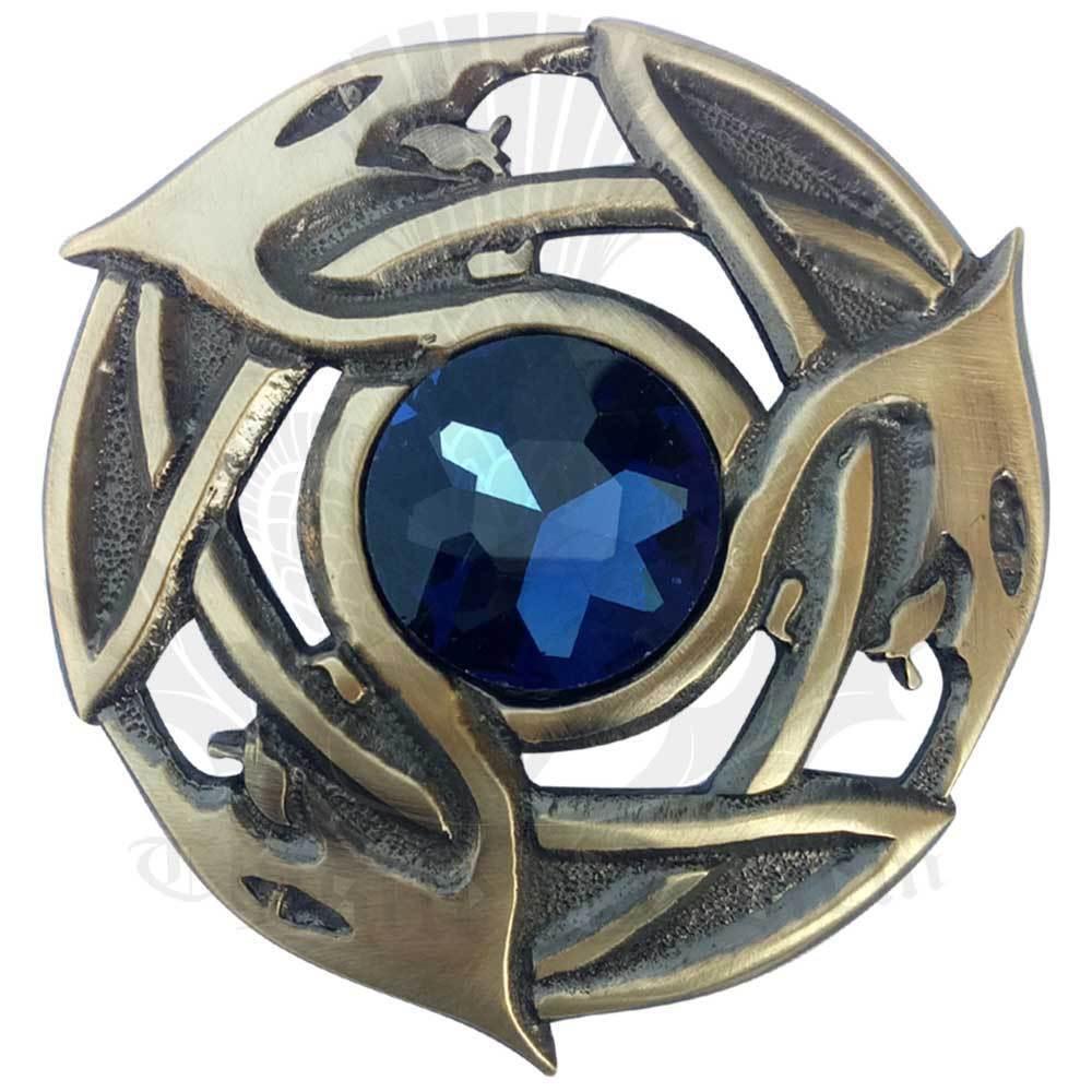 Scottish Kilt Fly Plaid Brooch Blue Stone Antique Finish/Celtic Pin & Brooches