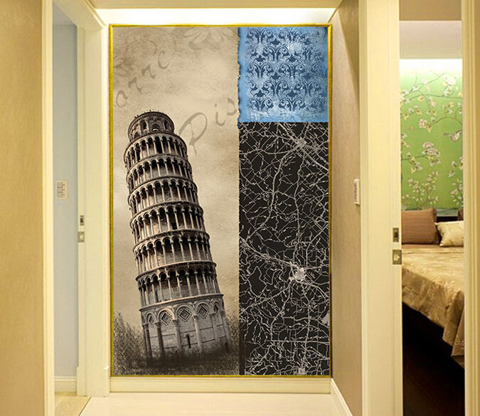 3D Inclined round tower 955 Wall Paper Wall Print Decal Wall Deco AJ WALLPAPER