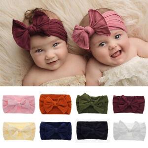 Solid-Color-Newborn-Baby-Nylon-Headband-Kids-Stretch-Bowknot-Turban-Headband