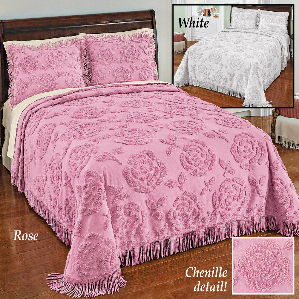 Pink Blossom Chenille Bedspread Pink in Twin With 2 Shams