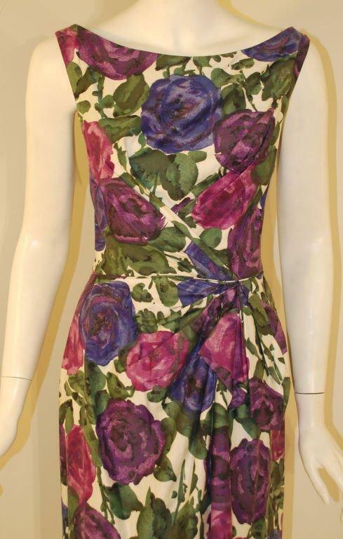 CEIL CHAPMAN 1950s Violet Cotton Floral Print Wig… - image 8