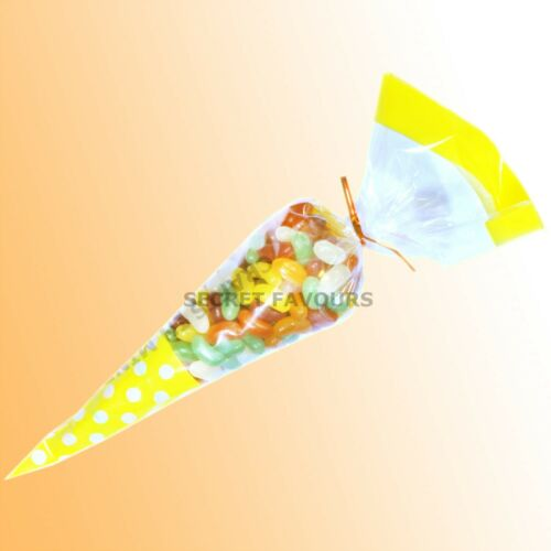 Cono de Violonchelo Fiesta Bolsas Bolsas de Celofan Caramelos tratar-Candy Gifts-Grande 18x37cm