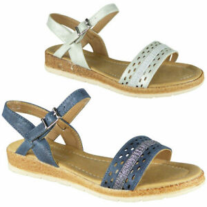 Ladies-Wedge-Sandals-Womens-Low-Strappy-Summer-Buckle-Comfy-Peep-toe-Shoes-Sizes