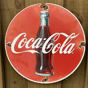 VINTAGE-COCA-COLA-PORCELAIN-SIGN-USA-SODA-POP-Coke-DRINK-OIL-GAS-PUMP-PETROLIANA