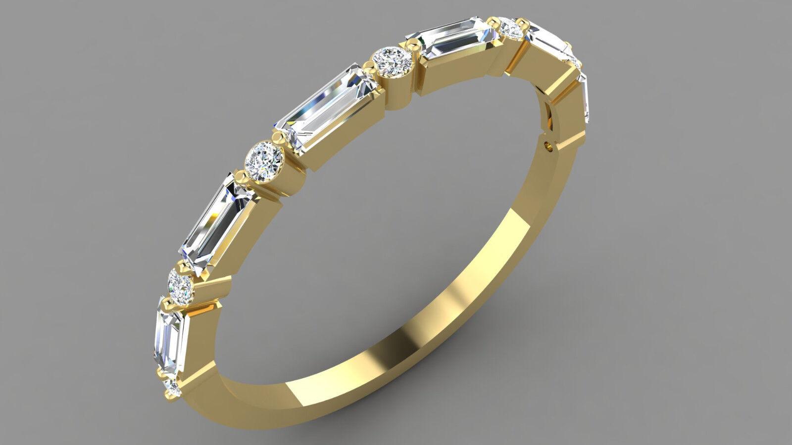 14k solid gold ring natural diamond ring baguette ring engagement ring DER0156