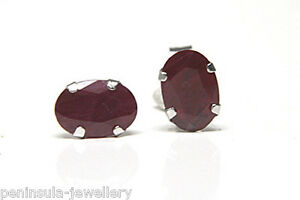 9ct-White-Gold-Oval-Ruby-Stud-earrings-Gift-Boxed-Made-in-UK-Christmas-Gift