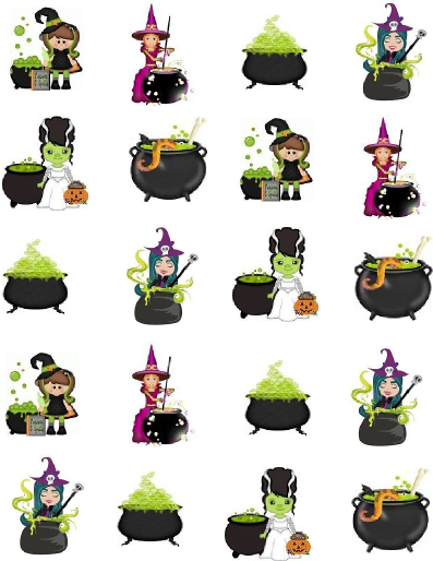 Witch's Brew Halloween Waterslide / Water Transfer Nail ...