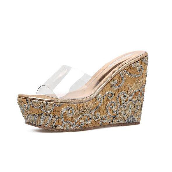 Sandali eleganti sabot zeppa 12 ciabatte oro pelle sintetica eleganti 9880