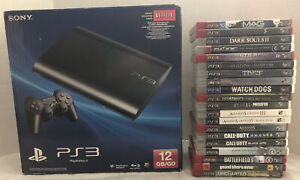 Sony Playstation 3 PS3 Super Slim 12GB Bundle With Box, 2 Controllers & 20 Games