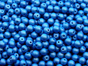 40pcs-Top-Hole-Round-Beads-6mm-Color-Trends-Satin-Metallic-Azure