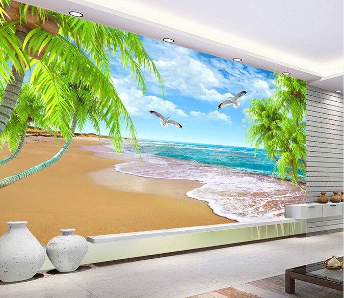 3D Birds Sandy Beach 7 Wall Paper Murals Wall Print Wall Wallpaper Mural AU Kyra
