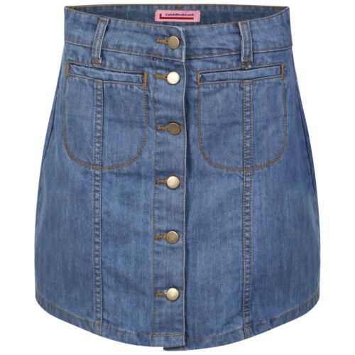 G10 New Women/'s Ladies Denim Button Through Skirt Sizes 8 to 16