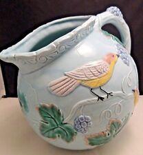 The Haldon Group Pitcher Blue Pink Birds Majolica Vintage