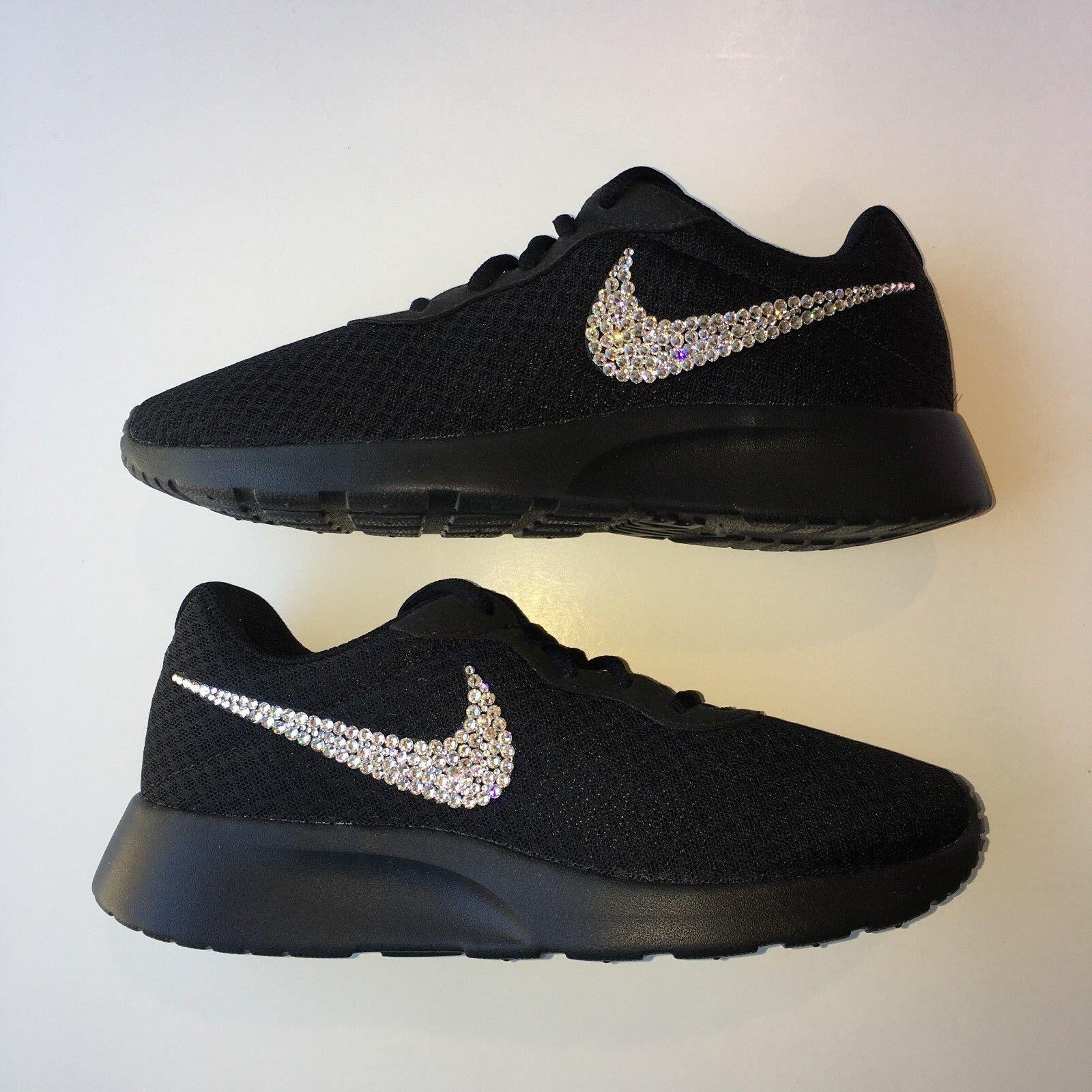 Bling Nike Nike Nike Tanjun scarpe with Swarovski Crystal Diamond Rhinestone - nero 024085