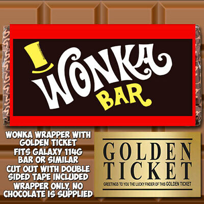 Wonka Chocolate Bar Wrapper Golden Ticket Willy Gift World Book Day Fathers W0 Ebay