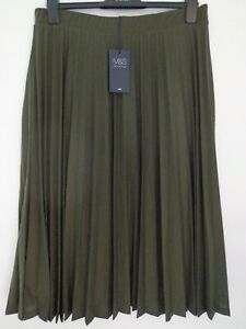 online sale shop best sellers most fashionable Details about BNWT LADIES M&S COLLECTION RANGE PLEATED LINED KHAKI GREEN  MIDI SKIRT SIZE 14