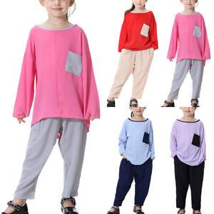 Kids Girl Muslim Islamic Long Sleeve T-Shirt Top Wide Leg Harem Pants Set Outfit