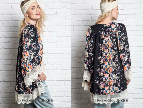 BLACK 35 FLOWER LACE CARDIGAN Floral Print Jacket Kimono Vintage Lk BOHO S M L