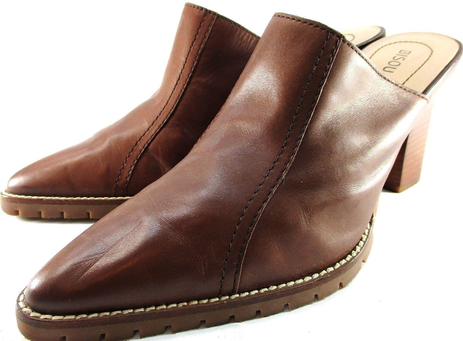 Bisou Bisou Women Heels 9 M Brown Leather Style C17 Heels 3.5 Slip Resistant