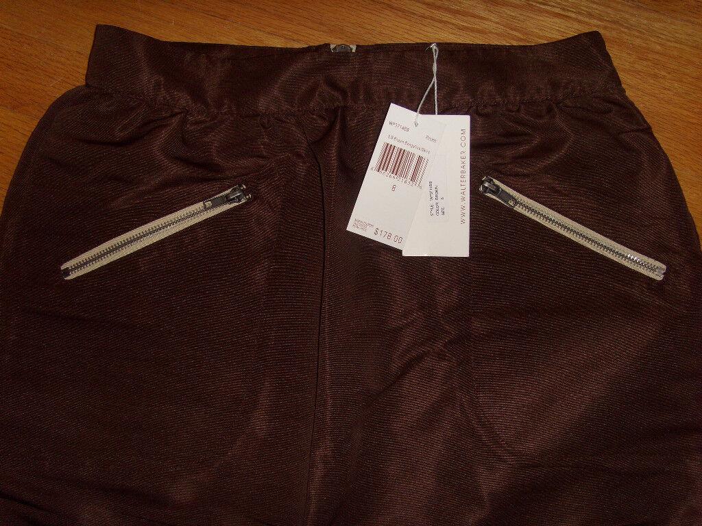 NWT Walter Baker Skirt Brown Bengaline 8 Small S   178