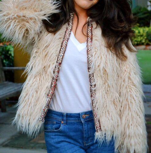 Fur faux con Woman Strip rif M Bnwt 230 Ecru Zara 2753 Jacket Taglia Textured Iq6pxCw