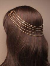 NEW Vintage gold gilt back of head on comb headchain tiara wedding bride prom