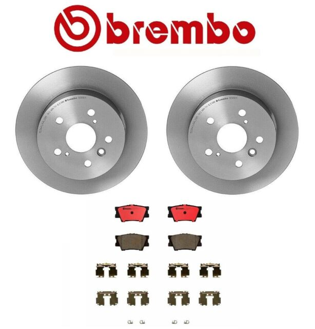 Pair Set of 2 Rear 281mm Coated Solid Disc Brake Rotors Brembo for Toyota Lexus