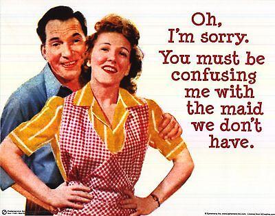 DORM POSTER~1960/'s Gag Advertising Maid Wife Husband Clean House Joke Print New~