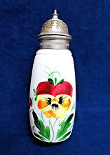 Vintage Hand Painted Milk Glass Syrup Pitcher w/ Metal Lid