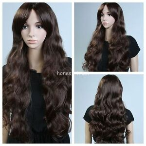 NEW-Wavy-Women-Long-Dark-Brown-Cosplay-Party-Curly-Wigs-Fashion-Ladies-Hair-Wig