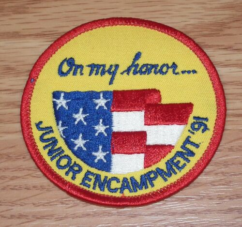 """On My Honor"" Junior Encampment 1991 Boy Scouts 3"" Inch Round Patch READ"