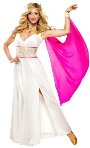 Grecian Goddess Costume 2 Pc Cream /& Gold Long Gown /& Head Wreath