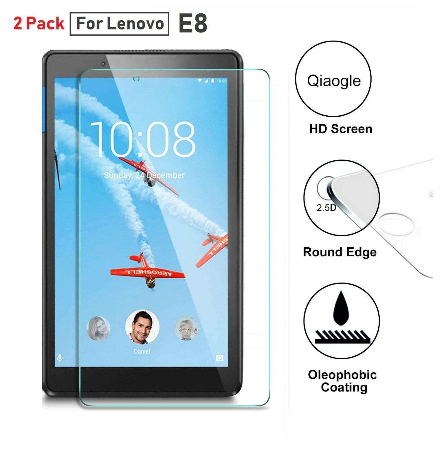 2 Pack TabletHutBox Tempered Glass Screen Protector for Lenovo TAB E8 2018