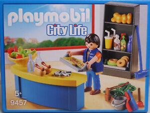 PLAYMOBIL-9457-Hausmeister-mit-Kiosk-Werkzeug-Apfel-Getraenke-Donut-Semmeln-NEU
