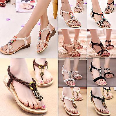 Damas Zapatos Planos Toe Post Flip Flops Sandalias señoras de Boho Tangas de playa de verano