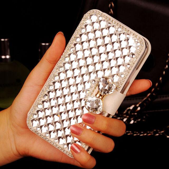 Elegant Bling Crystal Rhinestone White Wallet PU Leather Case For Samsung Galaxy