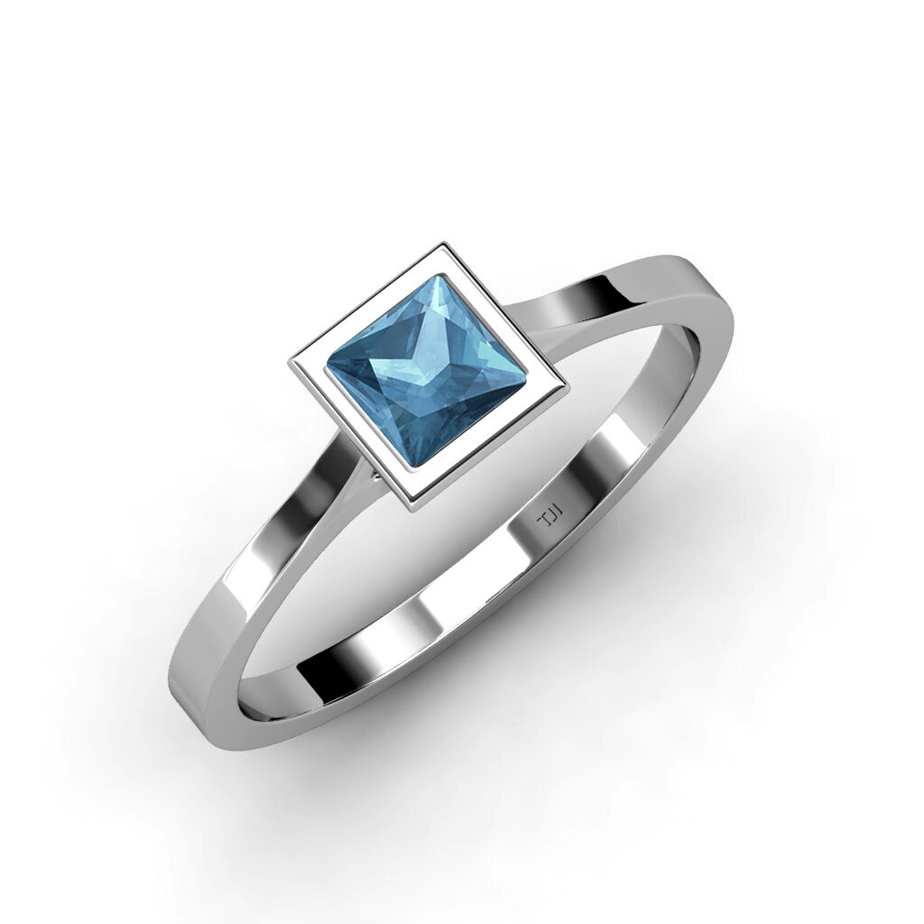 bluee Topaz Princess Cut Floating Stone Solitaire Ring 1.05ct in 14K gold