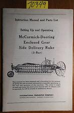 Ih Mccormick Deering Enclosed Gear Side Delivery Rake 3 Bar Manual 746