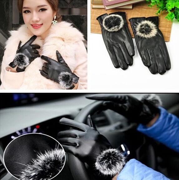 Women Girls Winter Soft Leather Mitten Gloves Warm Driving Gift