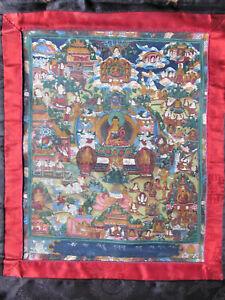 Buddhistisches Gemälde Thangka Buddha Darstellungen Tibet ORIGINAL Antik
