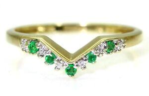 Stunning-Emerald-amp-Diamond-Wishbone-9ct-Yellow-Gold-Ring-size-S-9-1-4