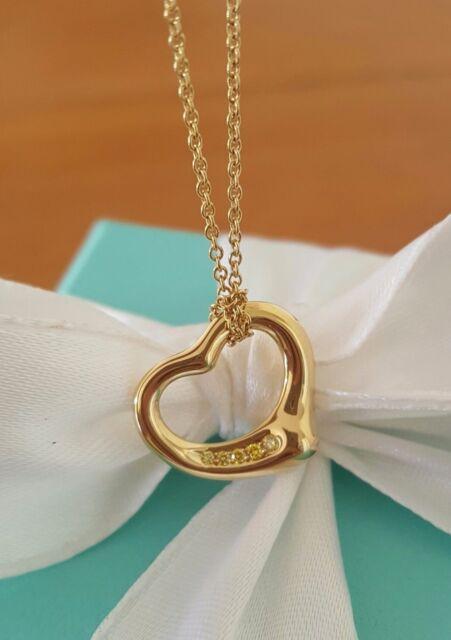 Tiffany & Co. Yellow Diamond/18k Yellow Gold 'Sml' Heart Pendant/Necklace $2450