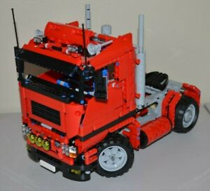 NEW-LEGO-TECHNIC-RED-8258-V8-CUSTOM-MOC-SEMI-TRUCK-13-inches-long