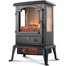 """Warm-Living 1,500W 17"""" Freestanding Infrared Stove Heater with Remote"""